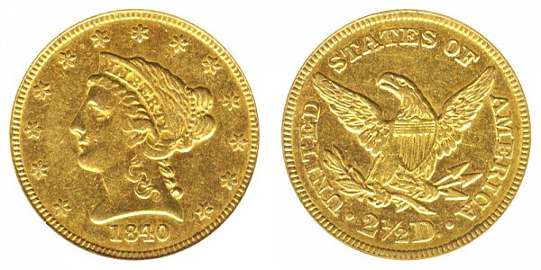 1840 Liberty Head $2.50 Gold Quarter Eagle - 2 1/2 Dollars