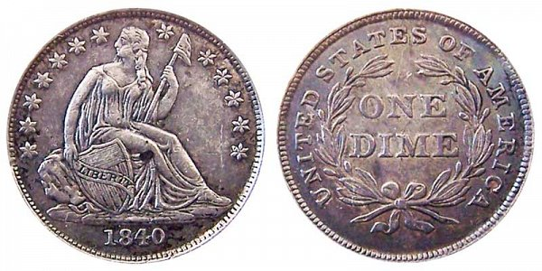 1840 Seated Liberty Dime - Type 2 No Drapery