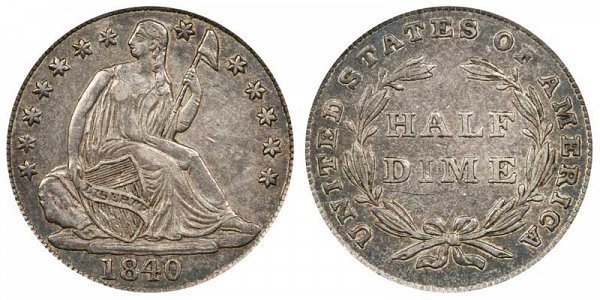 1840 Seated Liberty Half Dime - No Drapery