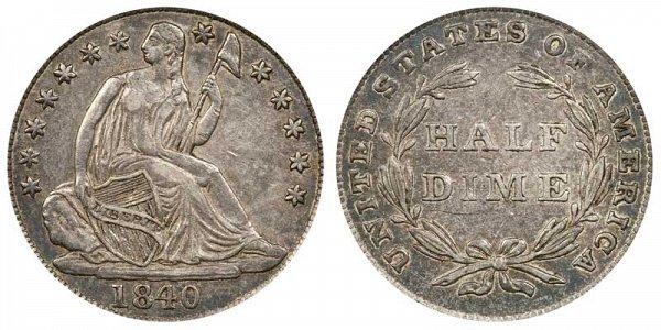 1840 Seated Liberty Half Dime - No Drapery