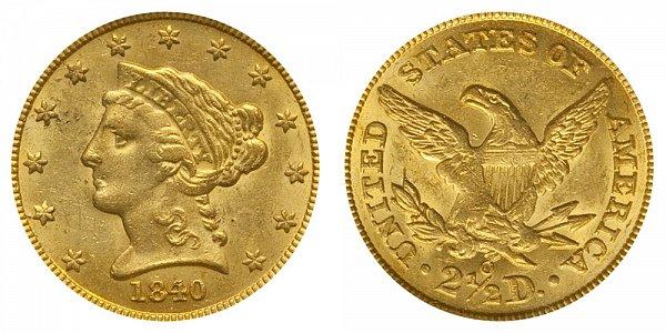 1840 O Liberty Head $2.50 Gold Quarter Eagle - 2 1/2 Dollars