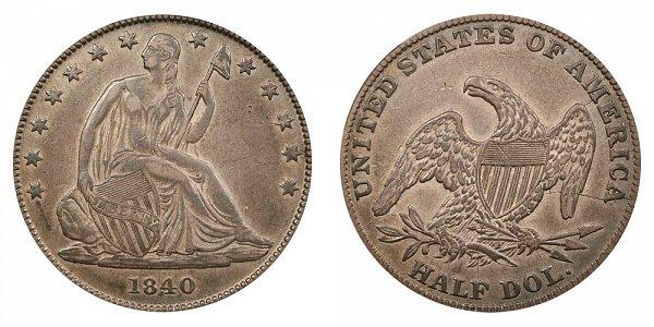 1840 Seated Liberty Half Dollar - Medium Letters - Reverse of 1838