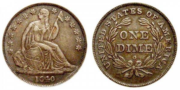 1840 O Seated Liberty Dime - Type 2 No Drapery