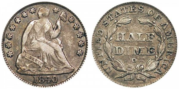 1840 O Seated Liberty Half Dime - With Drapery Added