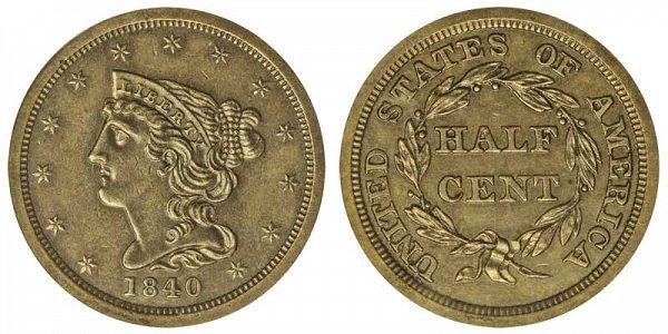 1840 Braided Hair Half Cent Penny - Original