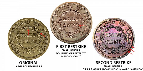 1840 Original vs First Restrike vs Second Restrike Braided Hair Half Cent - Difference and Comparison