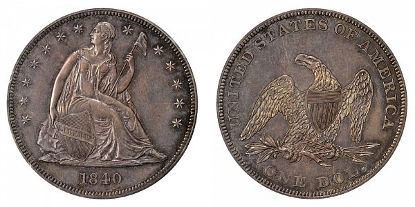 1840 Seated Liberty Silver Dollar