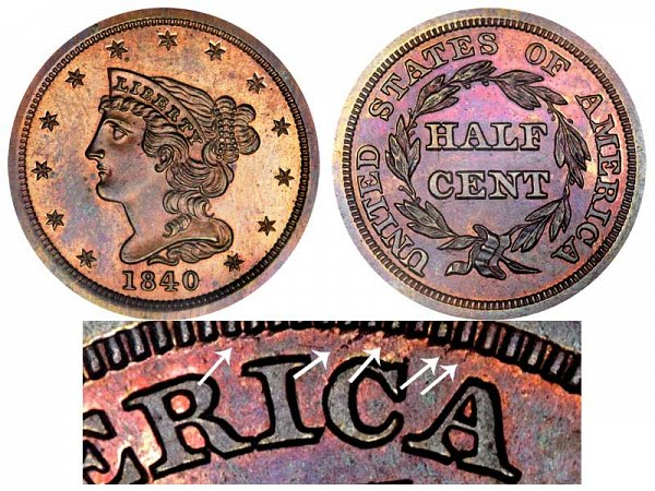 1840 Braided Hair Half Cent Penny - Second Restrike