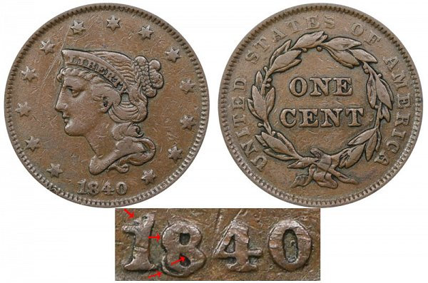 1840/18 Braided Hair Large Cent Penny - Small Date Over Large 18
