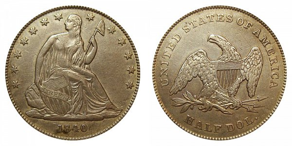 1840 Seated Liberty Half Dollar - Small Letters - Reverse of 1839