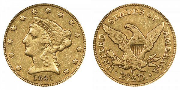 1841 C Liberty Head $2.50 Gold Quarter Eagle - 2 1/2 Dollars