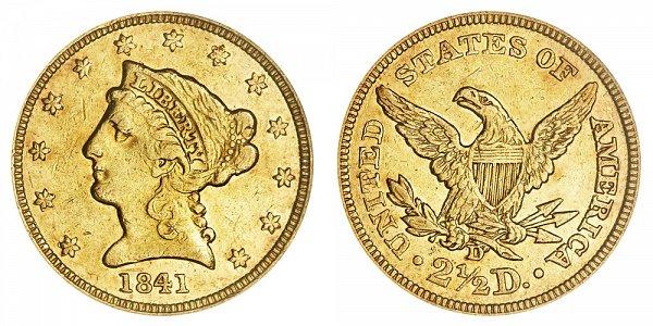 1841 D Liberty Head $2.50 Gold Quarter Eagle - 2 1/2 Dollars