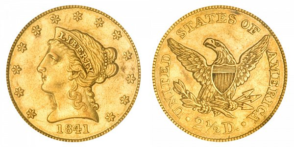 1841 Liberty Head $2.50 Gold Quarter Eagle - 2 1/2 Dollars