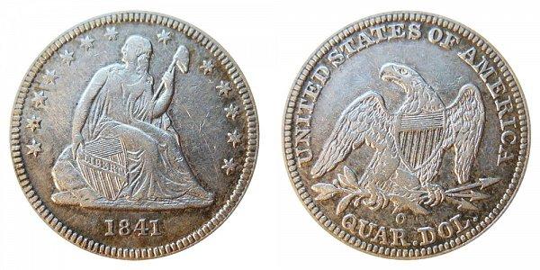 1841 O Seated Liberty Quarter