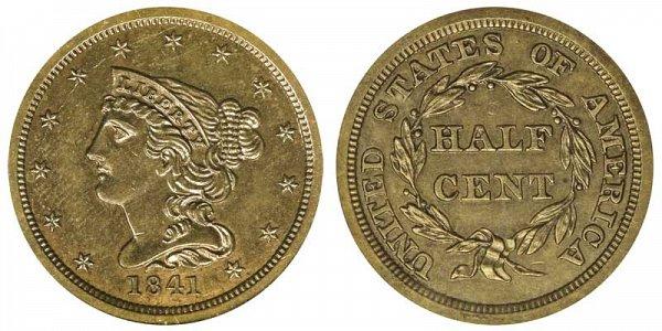 1841 Braided Hair Half Cent Penny - Original