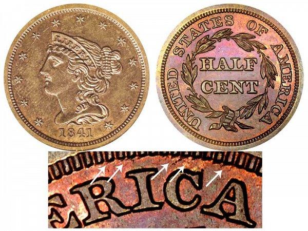 1841 Braided Hair Half Cent Penny - Second Restrike