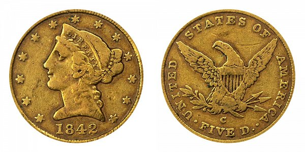1842 C Liberty Head $5 Gold half Eagle - Large Date