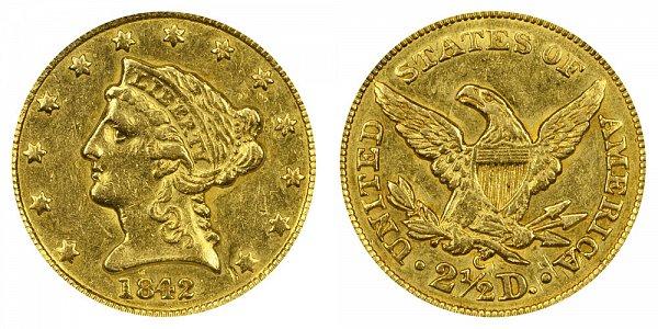 1842 C Liberty Head $2.50 Gold Quarter Eagle - 2 1/2 Dollars