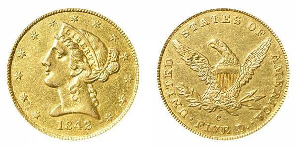 1842 C Liberty Head $5 Gold half Eagle - Small Date