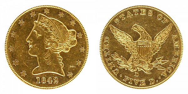 1842 D Liberty Head $5 Gold half Eagle - Small Date