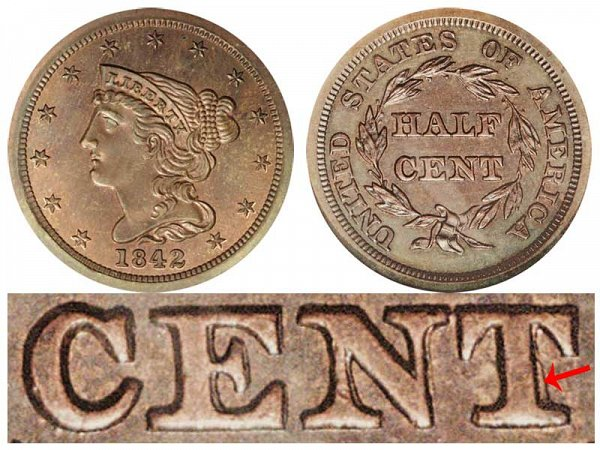 1842 Braided Hair Half Cent Penny - First Restrike