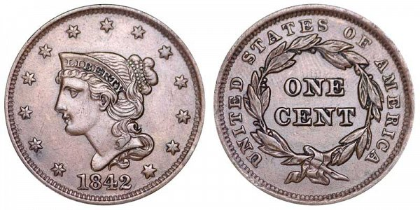1842 Braided Hair Large Cent Penny - Large Date