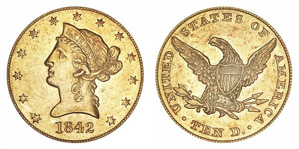 1842 Large Date Crosslet 4 - Liberty Head $10 Gold Eagle - Ten Dollars