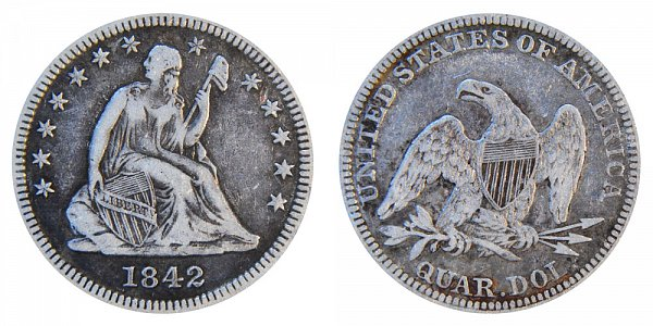 1842 Seated Liberty Quarter - Large Date