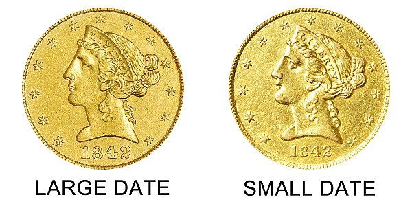 1842 D Large Date vs Small Date - $5 Liberty Head Gold Half Eagle - Difference and Comparison