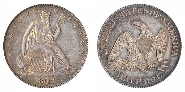 1842 Seated Liberty Half Dollar - Large Letters - Medium Date