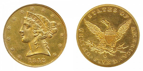 1842 O Liberty Head $5 Gold Half Eagle - Five Dollars