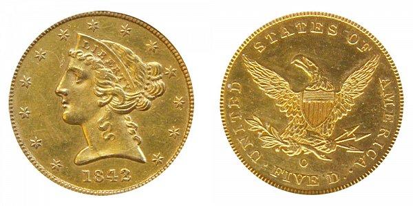 1842 O Liberty Head $5 Gold Half Eagle - Five Dollars