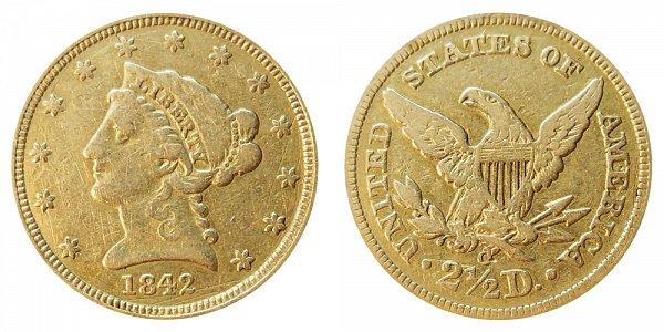 1842 O Liberty Head $2.50 Gold Quarter Eagle - 2 1/2 Dollars
