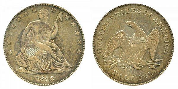 1842 O Seated Liberty Half Dollar - Small Letters - Small Date