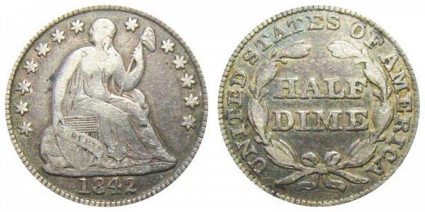 1842 Seated Liberty Half Dime