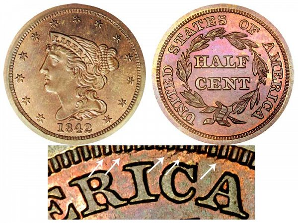 1842 Braided Hair Half Cent Penny - Second Restrike