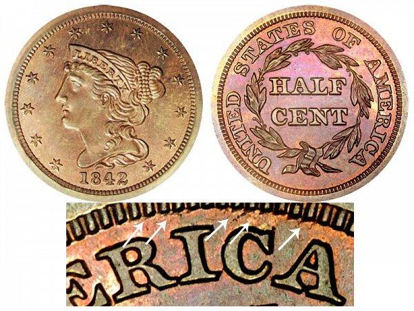 1842 Braided Hair Half Cent Penny - Second Restrike