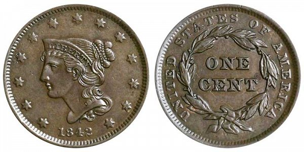 1842 Braided Hair Large Cent Penny - Small Date