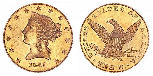 1842 Small Date Plain 4 - Liberty Head $10 Gold Eagle - Ten Dollars