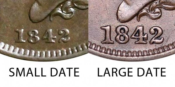 1842 Small Date vs Large Date Braided Hair Large Cent - Difference and Comparison