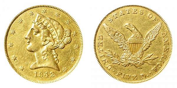 1842 Liberty Head $5 Gold half Eagle - Small Letters