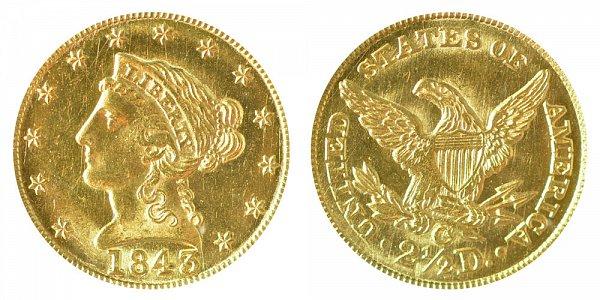 1843 C Liberty Head $2.50 Gold Quarter Eagle - Large Date - Plain 4