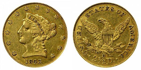 1843 D Liberty Head $2.50 Gold Quarter Eagle - Small D