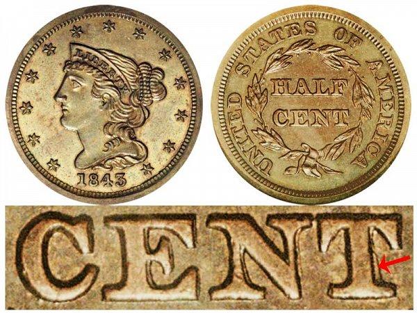 1843 Braided Hair Half Cent Penny - First Restrike