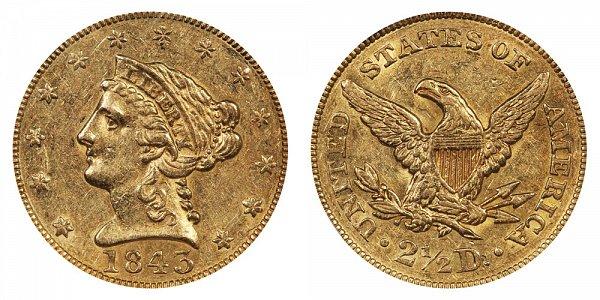 1843 Liberty Head $2.50 Gold Quarter Eagle - 2 1/2 Dollars