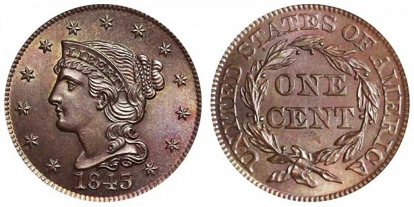 1843 Braided Hair Large Cent Penny - Mature Head Large Letters