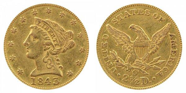 1843 O Liberty Head $2.50 Gold Quarter Eagle - Large Date - Plain 4