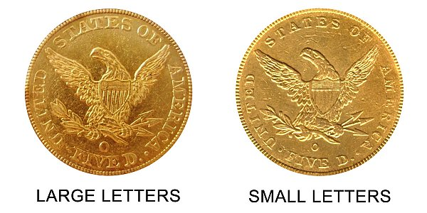 1843-O Small Letters vs Large Letters Liberty Head $5 Gold Half Eagle - Difference and Comparison