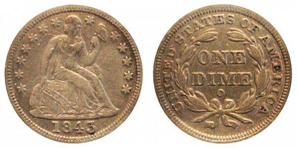 1843 O Seated Liberty Dime