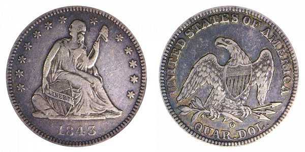 1843 O Seated Liberty Quarter